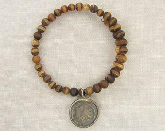 Brown Agate Bracelet, Tibetan Agate Bracelet Rustic Bangle Bracelet Semi Precious Gemstone Bracelet Tribal Charm Bracelet Memory Wire  BC2-5