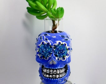 Sugar skull vase day of dead handmade