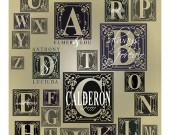 Letter monogram with names wood sign