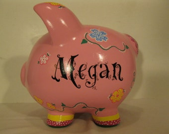 Flower piggy bank, Girls, Large Personalized piggy bank, Name personalzation - MADE TO ORDER