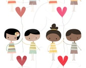 Cute Valentines Digital Clip Art Clipart Set - Personal and Commercial Use