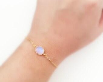 Opal Bracelet Gold Bracelet Small White Moonstone Bracelet Stone Bracelet Modern Dainty Personalized Gift Sister Best Friend Bridesmaids C1