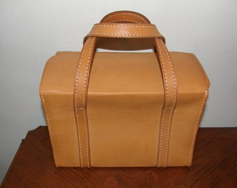 Vintage Tan Hard Leather Case