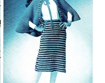 INSTANT DOWNLOAD  Vintage Knitting crochet  Pattern , pdf  pattern,  -cape and striped skirt