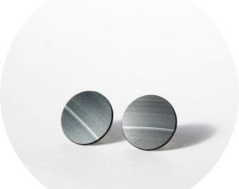 14 mm vinyl record stud earrings black studs black earrings black post earrings recycled jewelry unisex studs black stud earrings