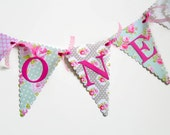 ONE First Birthday Bunting Banner - Pink, Mint, Grey, Floral, Polka Dots - Tea Party Theme Photo Prop