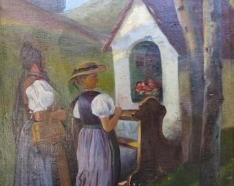 Bavarian Roadside Shrine Painting ca 1922