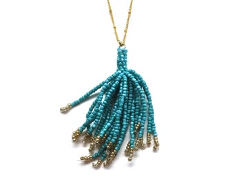 Turquoise Tassel Necklace - Beaded Fringe Pendant on Gold Chain - Christmas Gift Idea