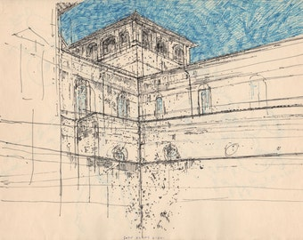 "Florence Courtyard in Italy. Marker on Paper. 9.5"" x 12"" Original Drawing"