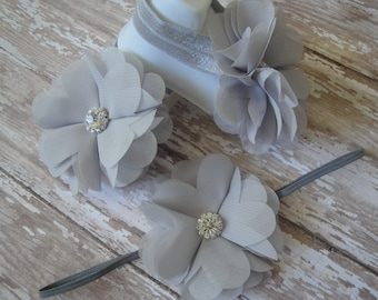 Barefoot Sandals - Bling Gray - Matching Set with Headband Optional