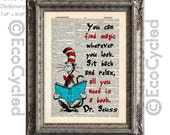 Cat in the Hat 10 Book Magic on Vintage Upcycled Dictionary Art Print  Book Art Print Dr Seuss Children Reading Adventure book lover art