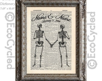 Skeletons in Love with Names and Date Custom on Vintage Upcycled Dictionary Art Print Book Art Print Anniversary Wedding Bones Customized