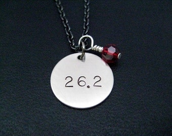26.2 with RACE MONTH Crystal Necklace - Round Marathon Charm with Sterling Silver Wrapped Swarovski Crystal on Gunmetal chain - 26.2