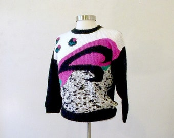Retro 80s Sweater / Womens Jumpers / Hipster Clothing / Hipster Sweater / Pullover Sweater / M
