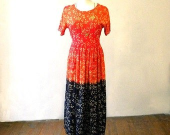 Colorful 80s Maxi Dress / Boho Hippie Long Dresses / Orange Red Long Dress / Casual Long Dresses / Ethnic Print