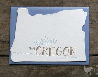 With Love From Oregon Letterpress Card