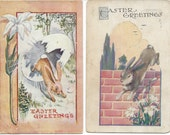 Mixed Lot of 8 Antique / Vintage EASTER Postcards with Bunnies, Chicks and Flowers - Victorian - Edwardian
