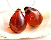 Amber Topaz Teardrops, czech glass, large Briolettes, beads pair, drop beads - 15x20mm - 2Pc - 2009