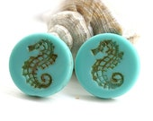 Czech Seahorse beads - Picasso Turquoise, Matte - glass beads, large, round, tablet shape, nautical, beach - 23mm - 2Pc - 1559