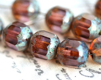 Czech glass beads - Amber Pink picasso beads, rare color - fire polished, glass beads - 10mm - 10Pc - 2483