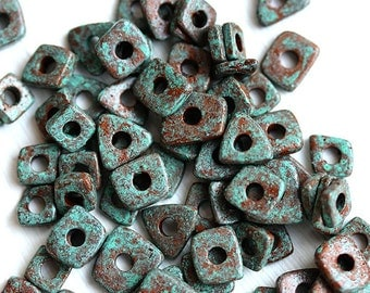 Greek ceramic chip beads - Rustic Patina, Copper Green - tiny spacers, square, triangle, mykonos, 5mm - approx.70pc - 0297