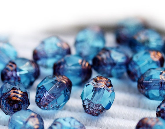 SALE 15% Off Cathedral beads, Blue Czech Glass beads, Copper Ends, fire polished, barrel beads - 8x6mm - 20Pc - 0753