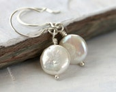 Classic Pearl Earrings: White Freshwater Coins with Sterling Silver French Hoops, Bridesmaid Earrings