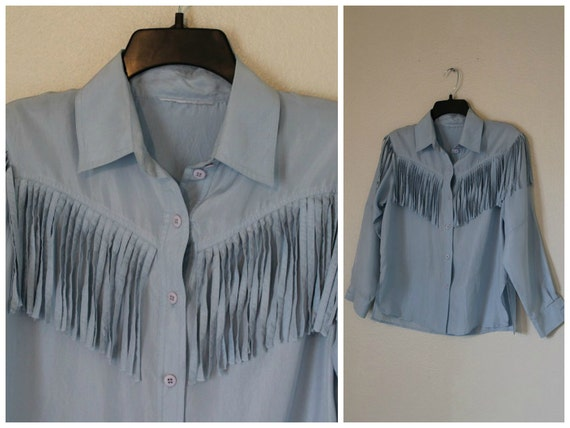 Vintage silk fringe blouse sky blue aqua tassle top breezy lavendar buttons Size small- Medium