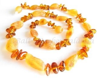 Raw Unpolished Cognac Color Baltic Amber Necklace. For Adults