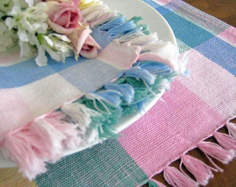 Vintage Napkins with Placemats, 12 Piece Set, Pastel Pink Blue Plaid, Fringe.