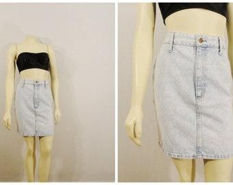 Vintage Skirt 80s Acid Wash Jean Mini Skirt Bongo Gene Montesano Tight Cotton Skirt Size 5 Modern Small