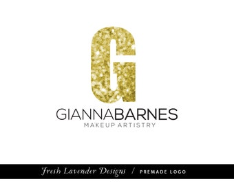 Custom Logo Design Premade Logo and Watermark for Photographers and Small Businesses Monogram Gold Glitter with Text Glam Chic