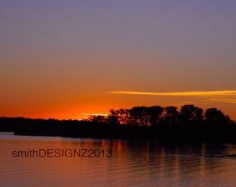 Sunset, Lake, Photography, Landscape Photo, Home Decor, Vinyl Wall Decal, by Abby Smith, (FREE SHIPPING)