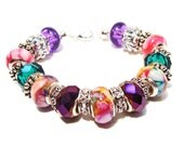 Rich and Glamorous Passionate Purple, Emerald Green and Fuchsia Euro-Style Beads with Crystals