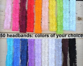 "Lace Headbands - Wholesale Lace Headbands - Set of 50 - 1"" Lace Headbands - Stretch Lace Baby Headbands - You Choose Colors"