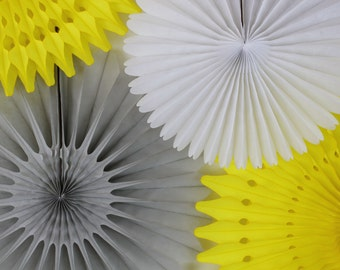 Baby Shower Decor, shower decoration, gender neutral, yellow and gray decorations -Set of 6 Tissue Paper Fans