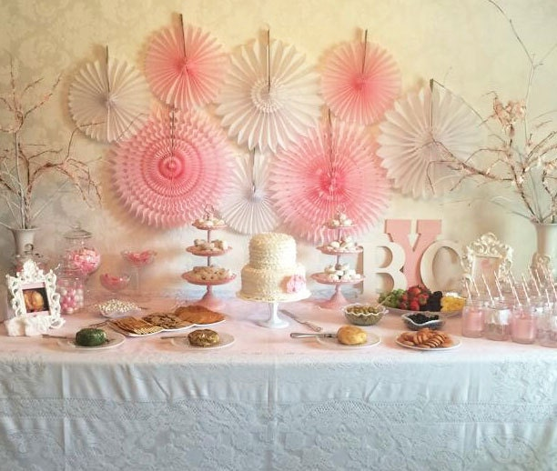 Baby shower decorations 8 tissue paper fans decor kit baby for Baby shower wall decoration ideas