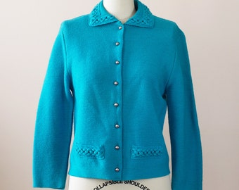 1960s Cardigan / 60s Wool Sweater // The Teal Appeal Sweater