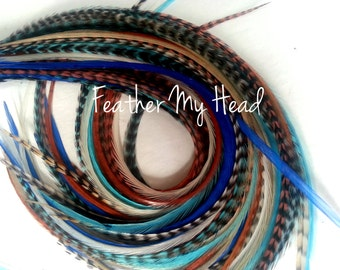 "16 DIY Kit Whiting Feather Hair Extensions Extra Long 11""-14"" (28-36cm) Cowboys And Angles- Blues Browns - Beads / Instructions"