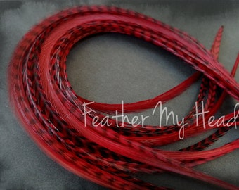 "10 Premium Feather Extensions, Extra Long Long, Grizzly And Solid Feathers 9""-12"" Deep Red"