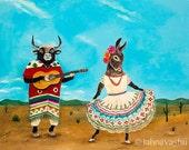 Bull, torro, donkey, burra, mexico, desert, mexican folk dance, guitar, animal art