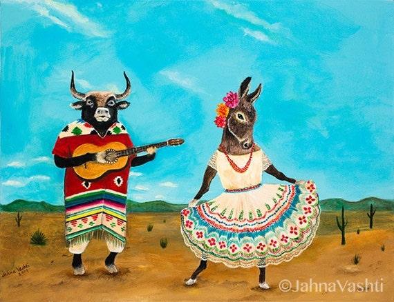 11x14 Print, Bull, torro, donkey, burra, Mexico, desert, Mexican folk dance, guitar, animal art