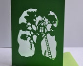 Treehouse Paper Cut Card - Original Design - Handmade - Novelty Card - A6 size with envelope