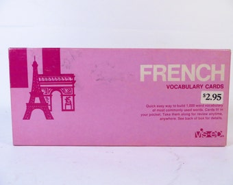 Vintage French Vocabulary Cards - Paper French Vocabulary Flash Cards