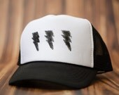 Lightening Bolt Youth Trucker Hat, Hand-stamped, Boy, Girl, Toddler, Child