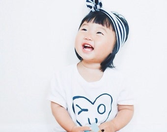 Jersey Knit Top Knot Headband, Navy and White Stripes, Baby, Toddler, Child