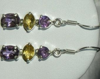 """Amethyst Earrings Citrine Fine Handmade Purple Semiprecious Gemstone Earrings Sterling Silver 1 5/8"""" Take 20% Off Women's Amethyst Jewelry"""