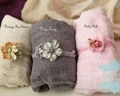 6 item set ~ 3 swaddles w free headties 1 yard long w FREE matching head ties cotton Gauze Swaddle Newborn Photo Prop Wraps/ Newborn Wrap