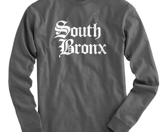 LS South Bronx Tee - Gothic NYC Long Sleeve T-shirt - Men and Kids - S M L XL 2x 3x 4x - New York City - 4 Colors