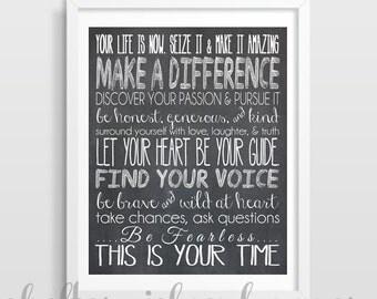 Inspirational Quote Print   Personalized Graduation Gift   Dorm Decor   Cubicle Decor   You choose colors